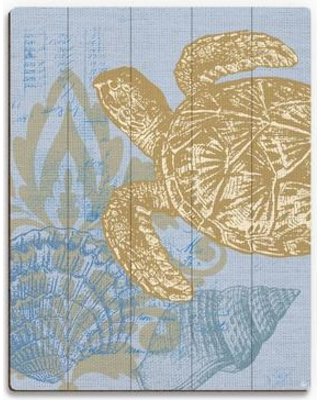 Discover Deals On Click Wall Art Damask Sea Turtle Graphic Art On Plaque In Light Blue Plastic Acrylic In Brown Blue Size 30 H X 20 W X 1 D Wayfair
