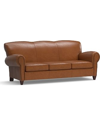 Manhattan Leather Sleeper Sofa with Bronze Nailheads, Polyester Wrapped Cushions, Statesville Espresso