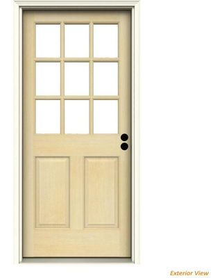 Shop For Jeld Wen 32 In X 80 In 9 Lite Unfinished Wood Prehung Left Hand Inswing Back Door W Primed Rot Resistant Jamb And Brickmould