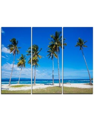 Design Art Palms on Philippines Tropical Beach - 3 Piece Photographic Print on Wrapped Canvas Set PT11591-3P