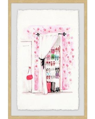 """House of Hampton® 'Shoe Closet' Framed Watercolor Painting Print, Paper in Brown/Pink/White, Size 36"""" H x 24"""" W 