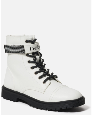 Bebe Women's Dayani Combat Boots, Size 9.5 in WHITE FAUX Synthetic