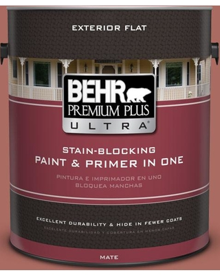 BEHR ULTRA 1 gal. #PPU2-13 Colonial Brick Flat Exterior Paint and Primer in One