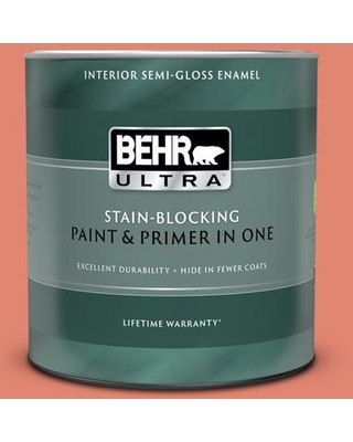 BEHR ULTRA 1 qt. #200D-5 Guava Jam Semi-Gloss Enamel Interior Paint and Primer in One