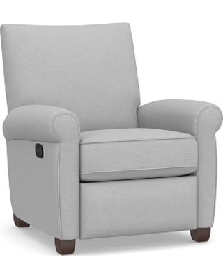 Grayson Roll Arm Upholstered Recliner, Polyester Wrapped Cushions, Brushed Crossweave Light Gray