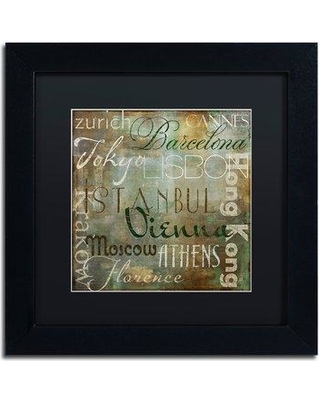 """Trademark Art 'Cities of the World IV' by Color Bakery Framed Textual Art ALI4119-B1 Size: 11"""" H x 11"""" W x 0.5"""" D Mat Color: Black"""
