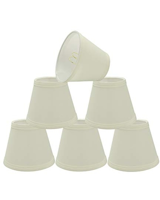 """Aspen Creative 32065-6 Small Hardback Empire Shape Chandelier Set (6 Pack), Transitional Design in Off White, 5"""" Bottom Width (3"""" x 5"""" x 4"""") Clip ON LAMP Shade"""