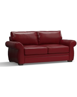 Pearce Leather Sofa 81 Down Blend Wred Cushions Signature Berry Red