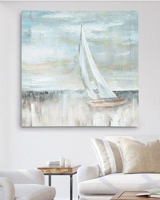 """Highland Dunes 'Soft Sail II' Oil Painting Print HIDN5937 Size: 32"""" H x 32"""" W x 1.5"""" D Format: Wrapped Canvas"""