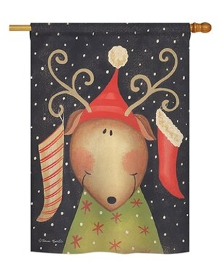 "Reindeer 2-Sided Polyester House Flag Breeze Decor Size: 40"" H x 28"" W"