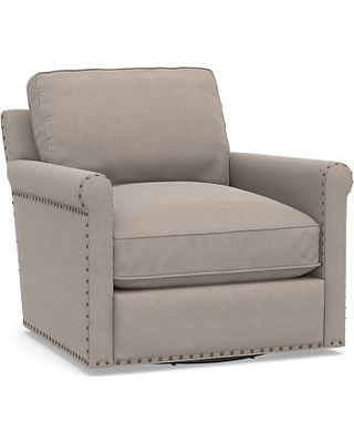 Tyler Roll Arm Upholstered Swivel Armchair with Bronze Nailheads, Down Blend Wrapped Cushions, Performance Everydayvelvet(TM) Carbon
