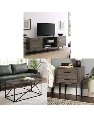 Walker Edison Furniture Company Mid Century Modern Wood Universal Stand for TV with Metal Rectangle Coffee Table Living Room Accent Ottoman Storage Shelf and Olivia 2 Drawer Wood Rectangle Side Table
