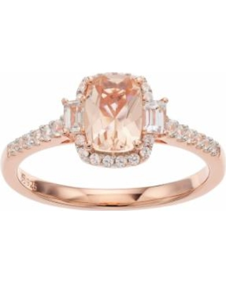 14k Rose Gold Over Silver Simulated Morganite & Lab-Created White Sapphire Halo Ring, Women's, Size: 7, Pink