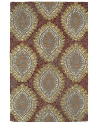 "Locust Grove Hand-Tufted Red Area Rug Bungalow Rose Rug Size: Rectangle 3'6"" x 5'6"""
