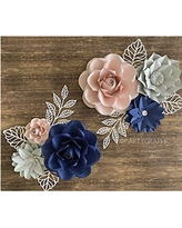 BUBBAPAINT. 3D Paper Flower Decorations for Wall. Backdrop for Décor. Giant Size Pre-Assembled Flower. Girld Nursery Wall Decor. Party Decor Wendding, Birthday, Rooms. Navy, Pink adn Grey