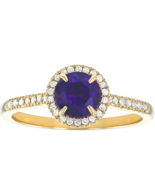 10k Yellow Gold 7/8ct Diamonds and Amethyst Halo Ring by Beverly Hills Charm (6)