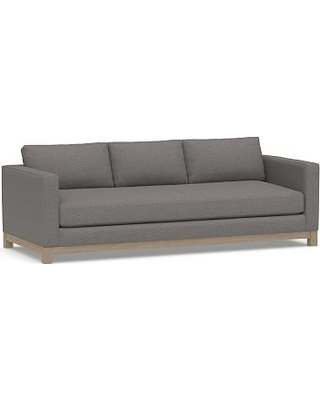 """Jake Upholstered Grand Sofa 95"""" with Wood Legs, Polyester Wrapped Cushions, Performance Chateau Basketweave Blue"""