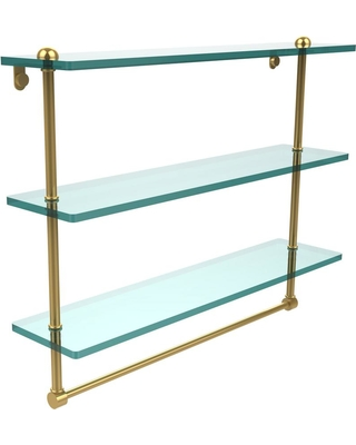 Allied Brass 22 in. Triple Tiered Glass Shelf with Integrated Towel Bar in Polished Brass