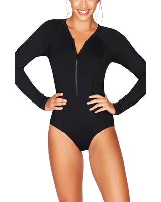 bc893fad94c95d New Bargains on Women's Sea Level Front Zip One-Piece Swimsuit, Size ...