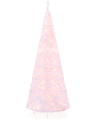 Best Choice Products 7.5ft Pre-Lit Pop-Up Artificial Christmas Tree Holiday Decoration w/ 450 White Lights, Stand