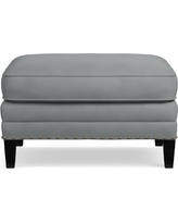 Addison Ottoman, Down Blend Cushion, Tuscan Leather, Solid, Dove
