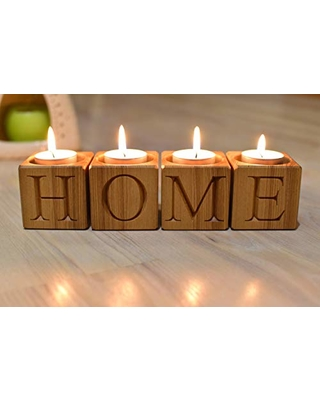 daa1f89691 4 Wood Candle Holders Wood Blocks - Home Decor Tealight Rustic Candle Stick  Holder Letters Engraved