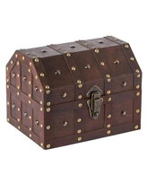 Vintiquewise Black Vintage Caribbean Pirate Chest with Decorative Nailed Design - Brown