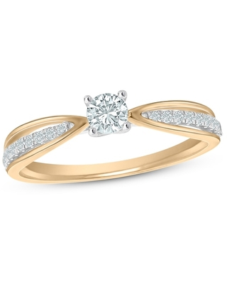 Jared The Galleria Of Jewelry Diamond Engagement Ring 1/3 ct tw Round 14K Two-Tone Gold
