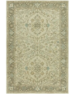 Big Deal On Stanley Floral Handmade Tufted Wool Green Beige Area Rug August Grove Rug Size Rectangle 5 6 X 8 6