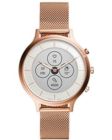 Fossil Women's 42MM Charter HR Heart Rate Stainless Steel Mesh Hybrid HR Smart Watch, Color: Rose Gold Mesh (Model: FTW7014)