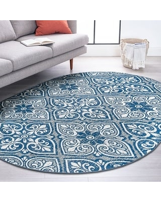 Alise Rugs Carrington Traditional Floral Area Rug (5'3'' x 7'3'' Oval - Gray)