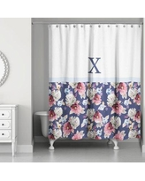 Darby Home Co Arquette Floral Monogrammed Shower Curtain DABY6302 Letter: X