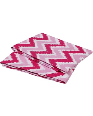 Bacati - MixNMatch Zigzag Crib/Toddler Bed Fitted Sheets 100% Cotton Percale, Pink, 2-Pack