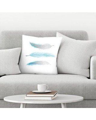 "East Urban Home Kristine Lombardi Bird Feathers Throw Pillow EBIB9968 Size: 20"" x 20"" Color: Blue/White"