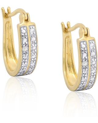 Finesque Gold Over Sterling Silver Diamond Accent Hoop Earrings (OSE806)