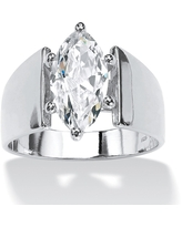 Sterling Silver Cubic Zirconia Wide Band Solitaire Engagement Ring - White (6)