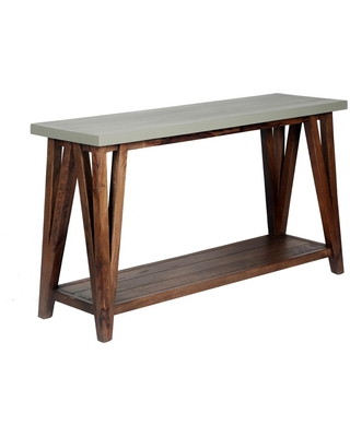 Alaterre Furniture Brookside 52 in. Light Gray/Brown Rectangle Wood Console Table with Concrete-Coating
