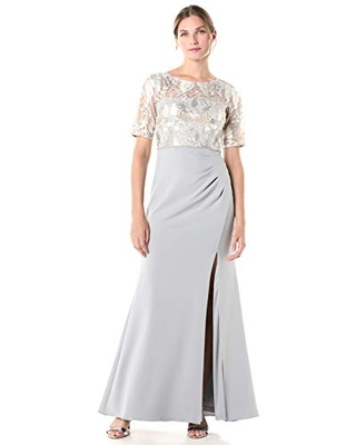 Adrianna Papell Women's Embroidered Long Gown, Silver Multi, 4