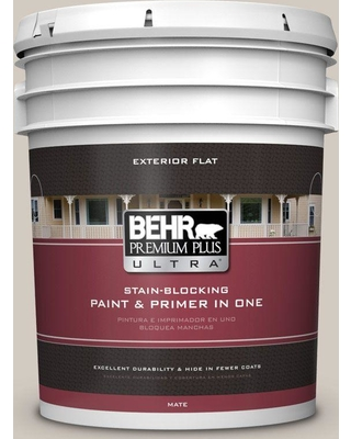 BEHR Premium Plus Ultra 5 gal. #N320-2 Toasty Gray Flat Exterior Paint and Primer in One