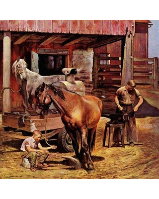 """Marmont Hill Blacksmith by John Falter Painting Print on Wrapped Canvas MH-RETR-78-C- Size: 32"""" H x 32"""" W"""