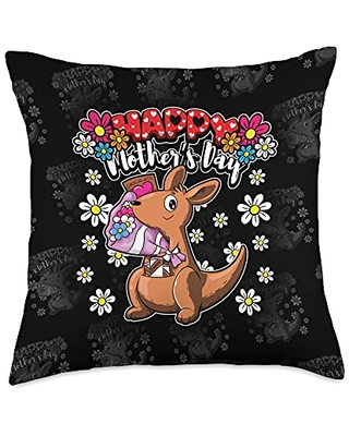 Funny Sayings And Mother's Day Designs Happy Day-I Love My Mother-Cute Kangaroo Throw Pillow, 18x18, Multicolor