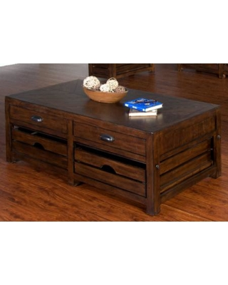 "Canyon Creek Collection 3266KW-C 50"" Coffee Table with Metal Pipe Accents 2 Removable Crate Storage and 2 Felt Lined Drawers in Kings Wood"