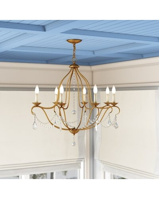 Bayfront 8 - Light Candle Style Empire Chandelier with Crystal Accents