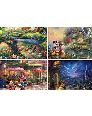 Ceaco Thomas Kinkade The Disney Collection 4 in 1 Multipack Alice in Wonderland, Mickey & Minnie Mouse, & The Beauty and The Beast Jigsaw Puzzles, (4) 500 Pieces