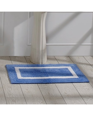 """Better Trends Hotel Tufted Bath Mat Rug, 100% Cotton, 21"""" x 34"""" Rectangle, Gray/White"""