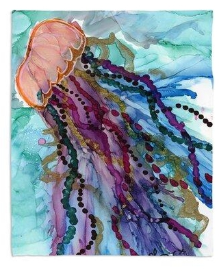 Huge Deal On Highland Dunes Norton St Philip Jellyfish Kisses Throw Polyester In Pink White Purple Size 68 W X 80 L Wayfair