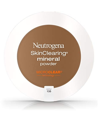 Neutrogena SkinClearing Mineral Acne-Concealing Pressed Powder Compact, Shine-Free & Oil-Absorbing Makeup with Salicylic Acid to Cover, Treat, & Prevent Breakouts, Chestnut 135.38 oz