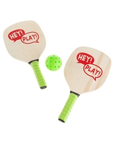 Paddle Ball Game Set – Pair of Lightweight Beginner Rackets, Ball and Carrying Bag for Indoor or Outdoor Play – Adults and Children by Hey! Play!
