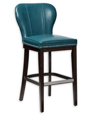 Madison Park™ Hilton Counter Stool Wood Upholstered Chair in Blue/Brown