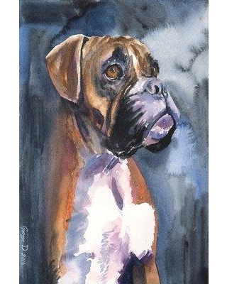 """Marmont Hill 'Boxer In The Mist' by George Dyachenko Painting Print on Wrapped Canvas MH-GEORG-15-C- Size: 30"""" H x 20"""" W x 1.5"""" D"""